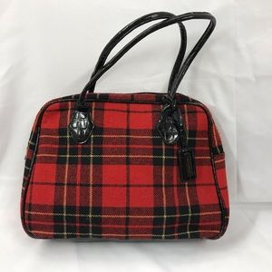 NWOT Bueno Wool Plaid Bowler Bag